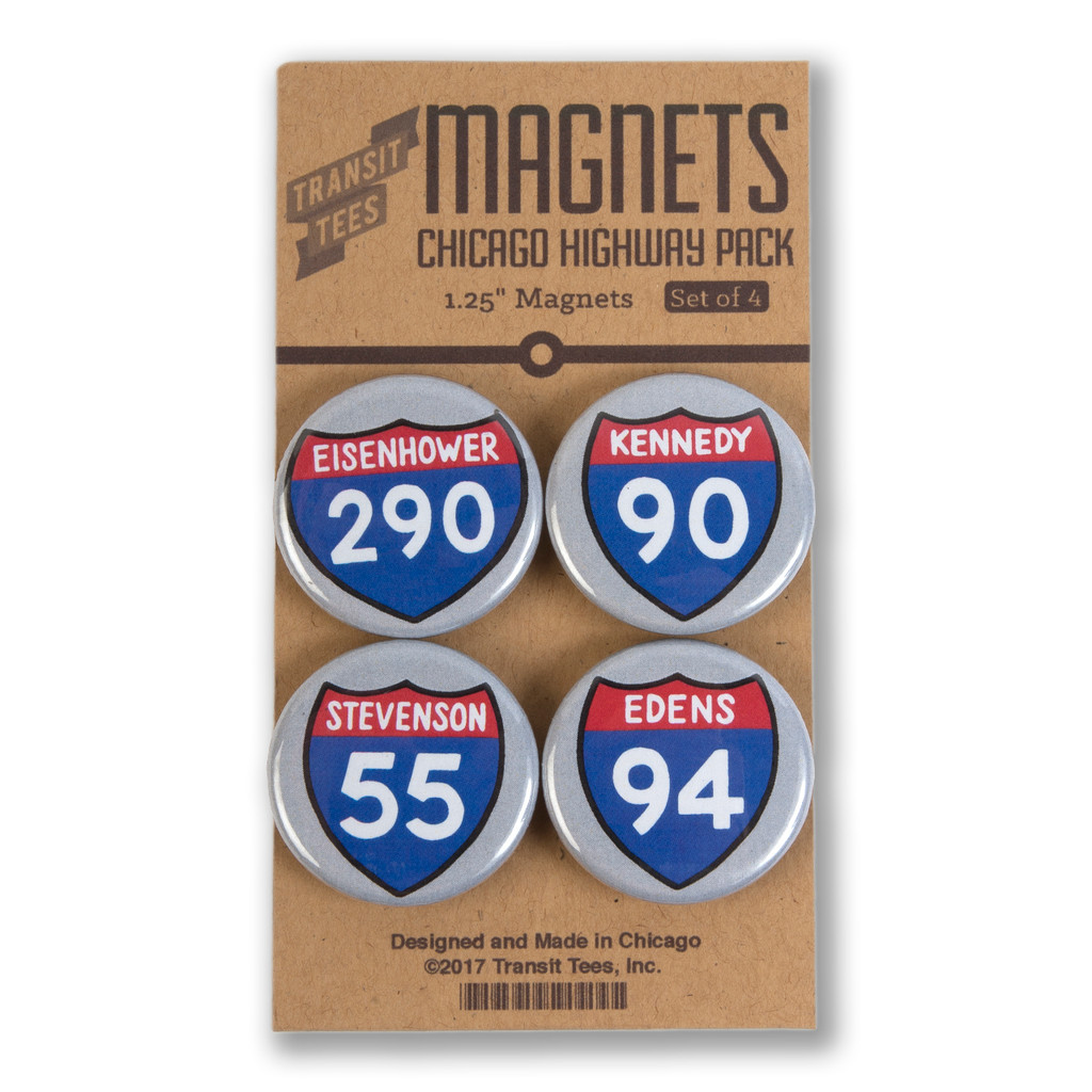 Chicago Highways Round Magnet Pack