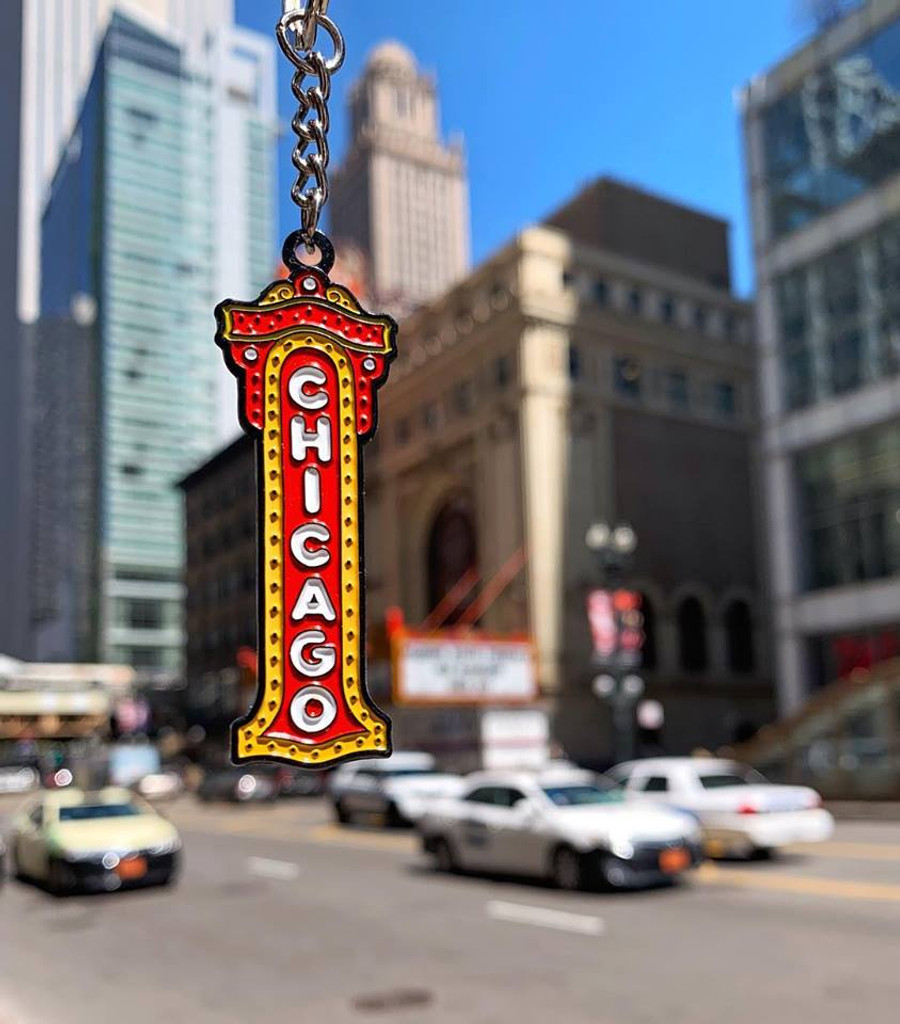 Chicago Theater Sign Enamel Keychain