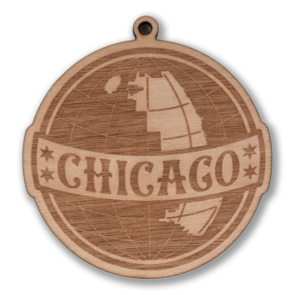 Chicago Globe Wood Ornament