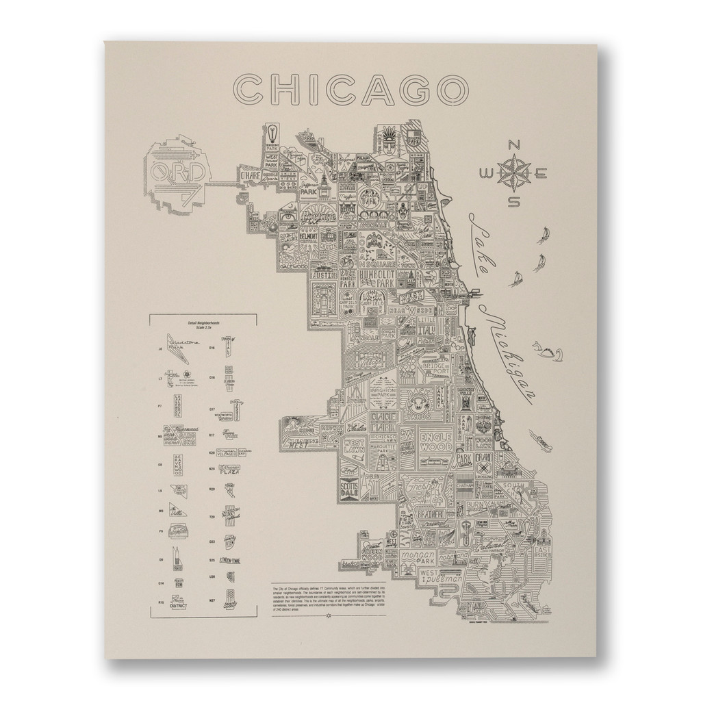 Neon Neighborhood Map of Chicago Screen Print