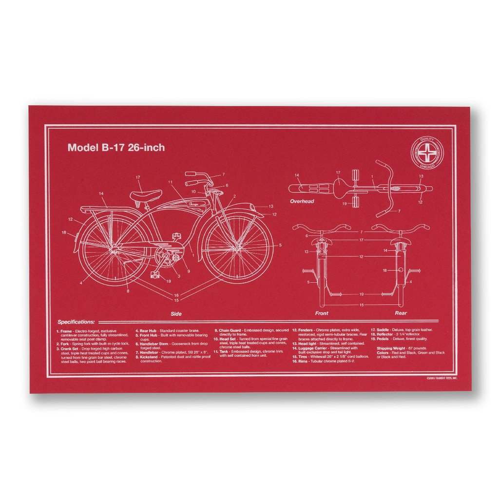 Chicago Bike Schematic Screen Print