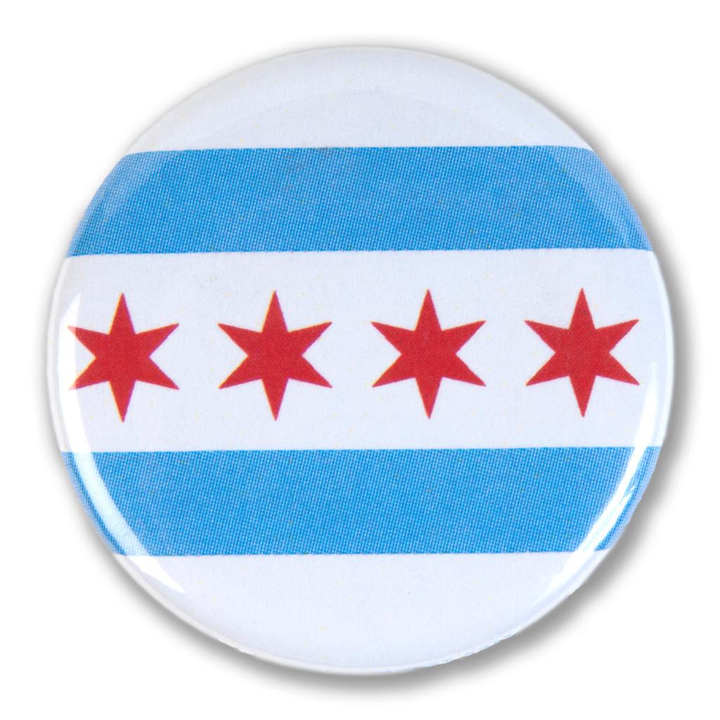 Chicago Flag Round Pin