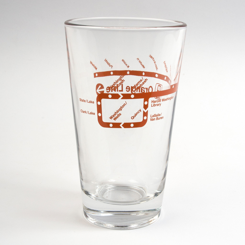 Orange Line Pint Glass