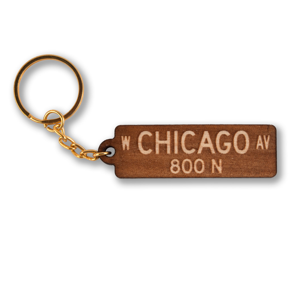 Chicago Avenue Wooden Keychain