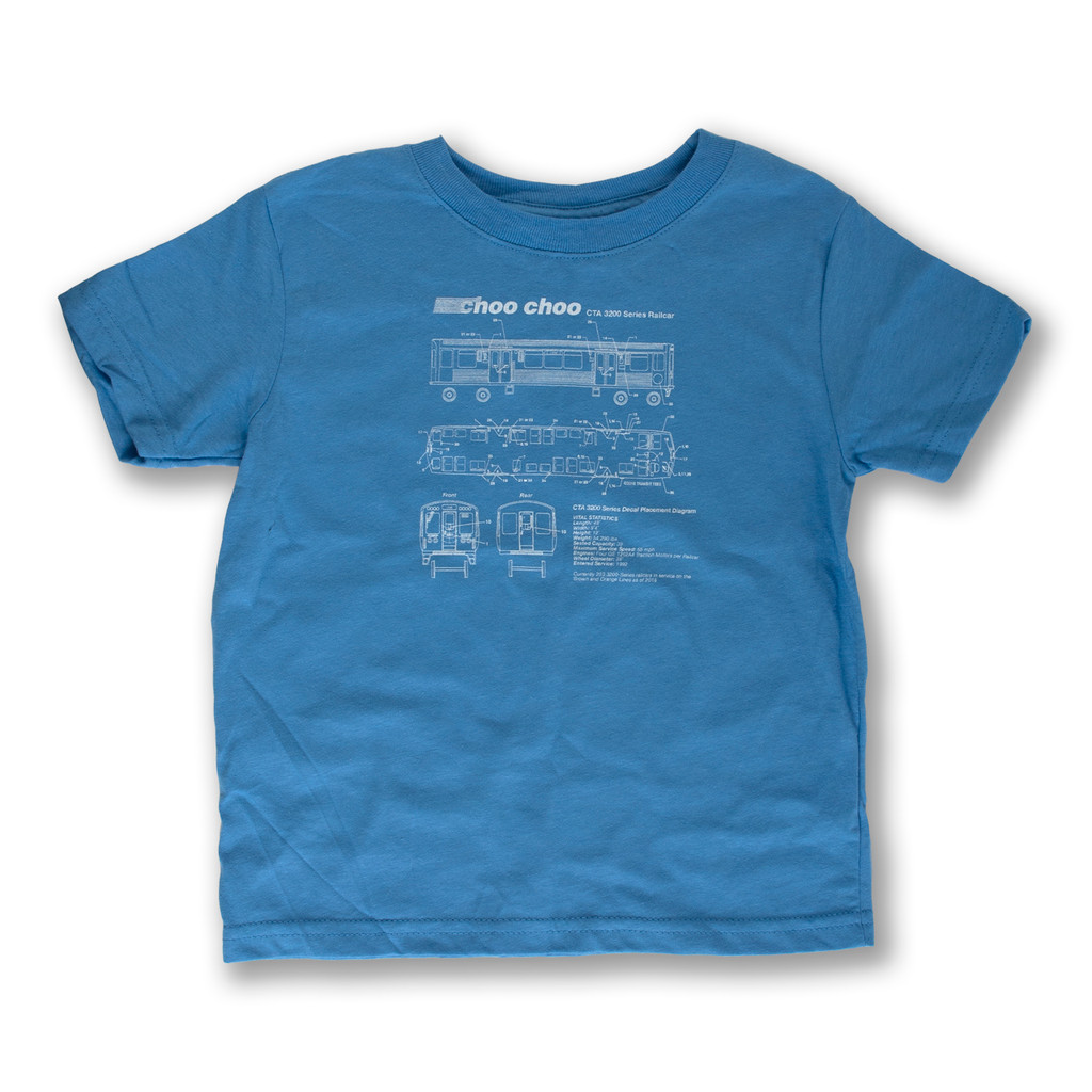 El Train Blueprint Schematic Carolina Blue - Toddler