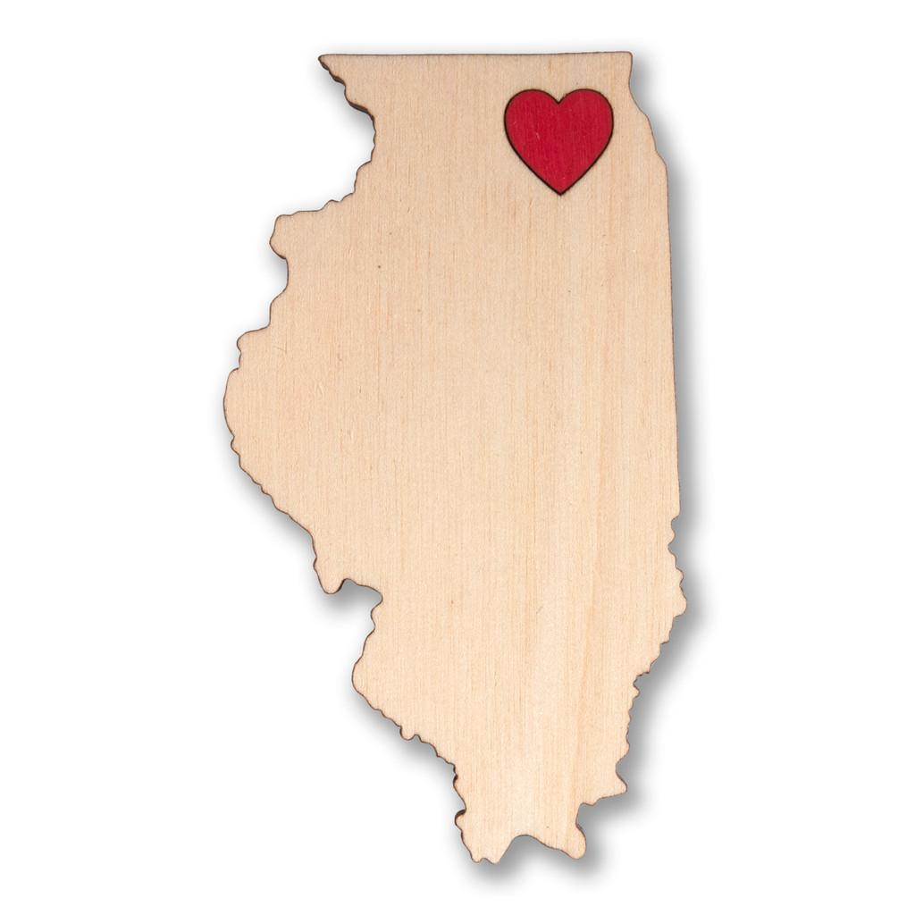 I Heart Chicago Wooden Magnet