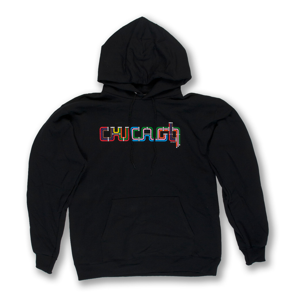 Chicago Transit Type Pullover Hoodie - Unisex