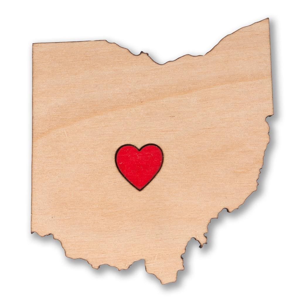 I Heart Columbus Ohio Wooden Magnet