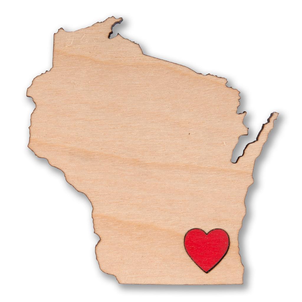 I Heart Milwaukee Wisconsin Wooden Magnet
