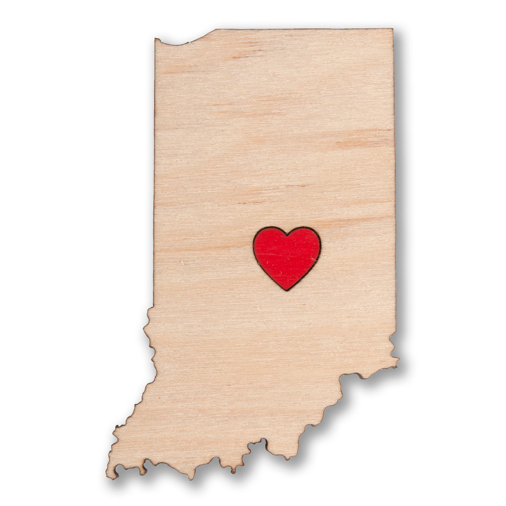 I Heart Indianapolis Indiana Wooden Magnet