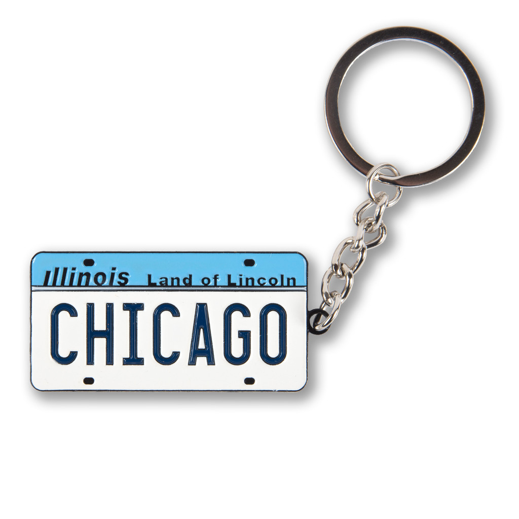 Illinois Vintage License Plate Enamel Keychain