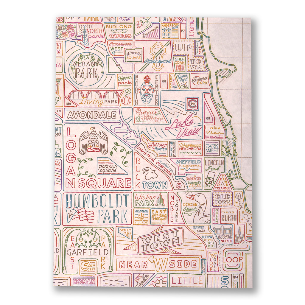 Vintage White Neighborhood Map Poster