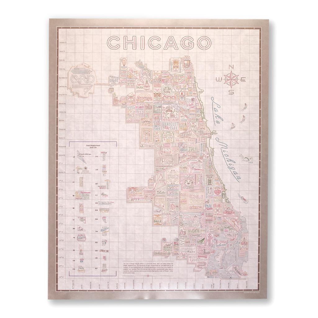 Vintage White Neighborhood Map Poster