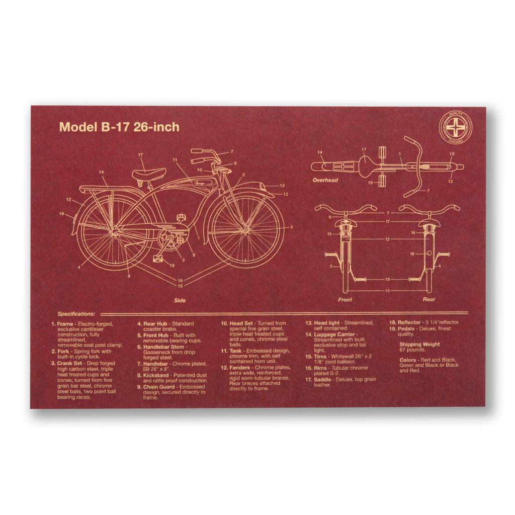 Bike Schematic Postcard