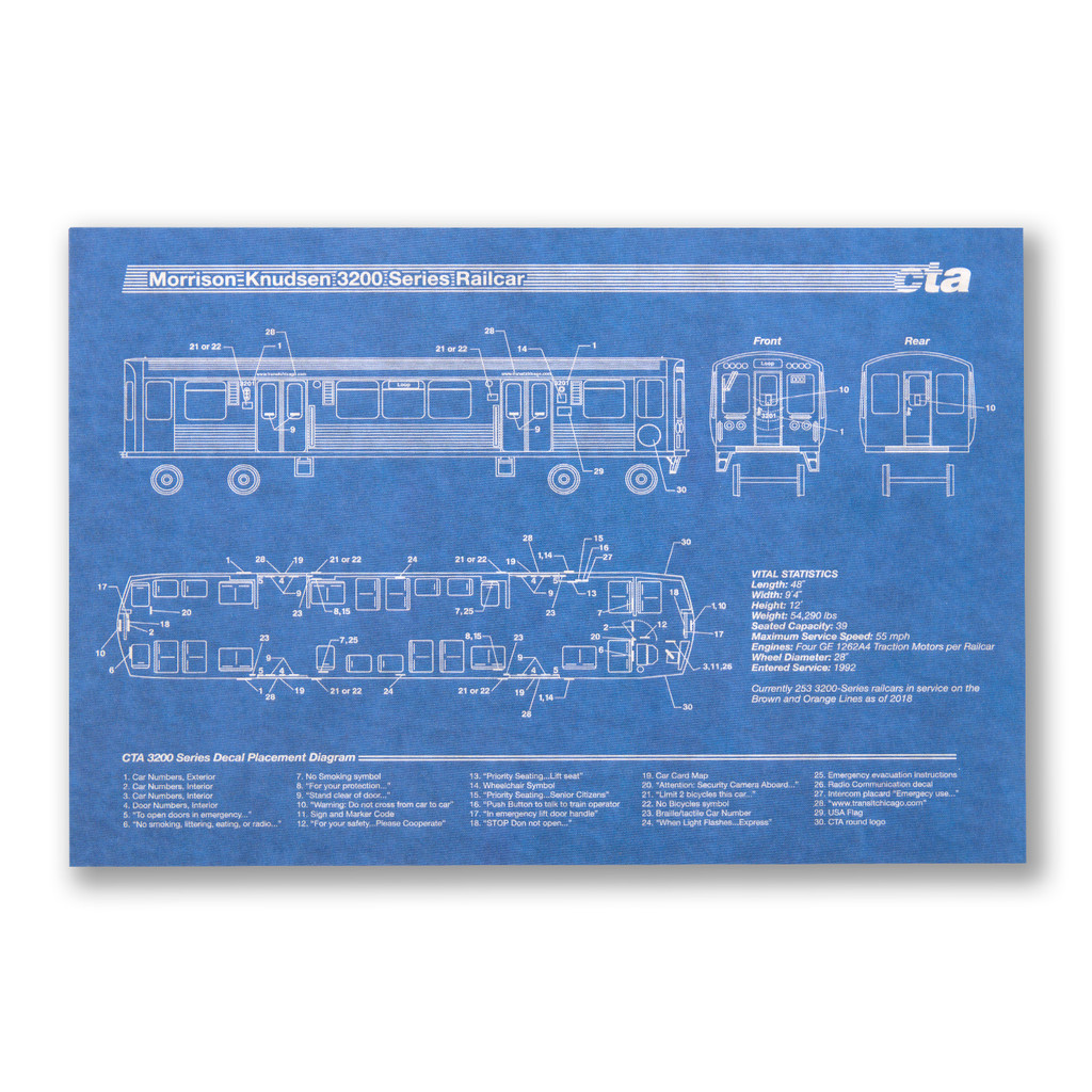 El Train Blueprint Postcard