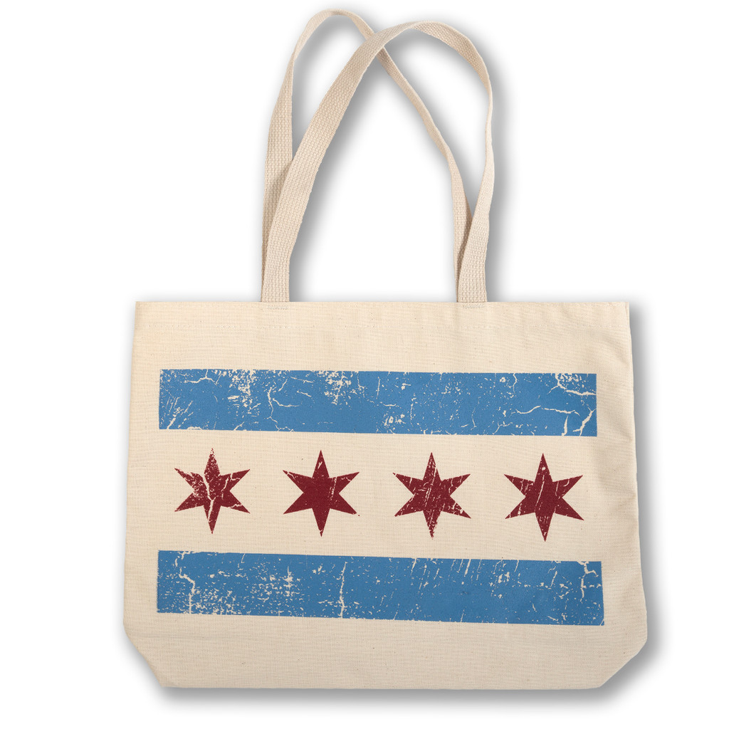 Distressed Chicago Flag Tote