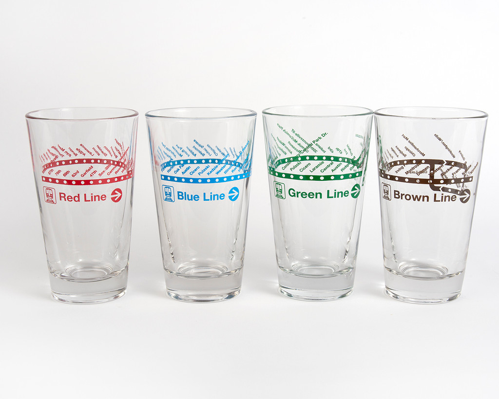 Train Line Pint Glass- Four Pack