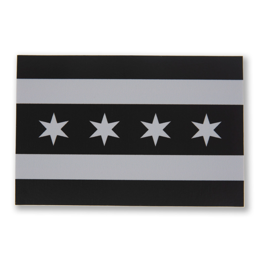 Greyscale Chicago Flag Sticker