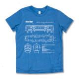 El Train Blueprint Schematic Carolina Blue - Youth Tee
