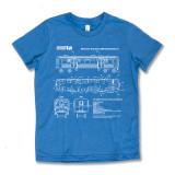 El Train Blueprint Schematic Carolina Blue - Youth Tee