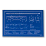 Chicago El Train Blueprint Schematic Screen Print