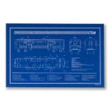 Chicago El Train Blueprint Schematic Screen Print