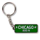 Chicago Ave Street Sign Enamel Keychain