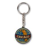 Chicago Globe Enamel Keychain
