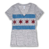 Distressed Chicago Flag Tee - Women's