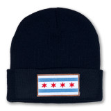 Chicago Flag Patch Beanie - Navy