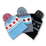 Chicago Flag Knit Beanie with Pom