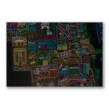 Neon Neighborhood Map of Chicago Poster