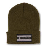 Greyscale Chicago Flag Patch Beanie