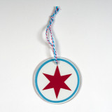 Chicago Circle Star Glass Ornament