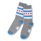 Chicago Flag Dress Socks - Heather Grey