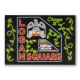 Logan Square Neon Neighborhood Postcard