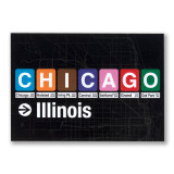 Chicago IL Stations Signs Postcard