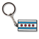 Chicago Flag Enamel Keychain