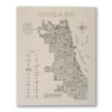 Neon Neighborhood Map of Chicago Screen Print