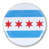 Chicago Flag Round Pin