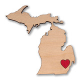 I Heart Detroit MI Wooden Magnet