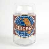 Chicago Globe Label Beer Can Glass