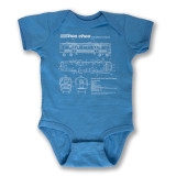 El Train Blueprint Schematic Carolina Blue - Infant Onesie