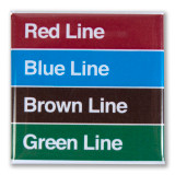 Red, Blue, Brown, Green Lines Square Magnet