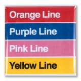 Orange, Purple, Pink and Yellow Lines Square Magnet