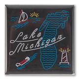 Lake Michigan Neon Magnet