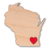I Heart Milwaukee Wisconsin Wooden Magnet