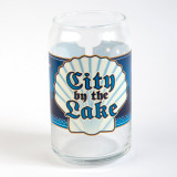 City by the Lake Label Beer Can Glass