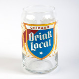 Drink Local Label Beer Can Glass