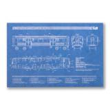 El Train Blueprint Postcard